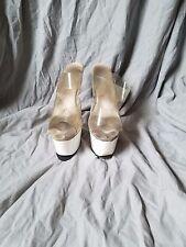 Well Worn Stripper Shoes Women White Plastic Pleasers Dancer Heels size 10