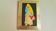 """Moroccan Beautiful Handmade Painting Engraved Copper Framed 8""""x11"""" Berber Lady"""