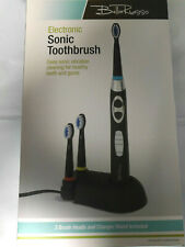 NEW Bella Russo Black Electronic Sonic Care Toothbrush Charger Extra Brush Heads