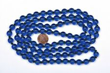 Old Chinese Cobalt Blue Peking Glass Carved Carving 100 Bead Necklace