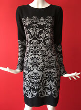 NEXT Black Grey Deco Print Bodycon Stretch Long Sleeve Dress Work Casual Size 20