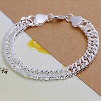 beautiful Fashion men 925 gift silver 10MM chain pretty bracelet H102