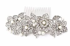 Newest Bridal Flowers Pearl Hair Comb with Clear Austrian Crystal wedding comb