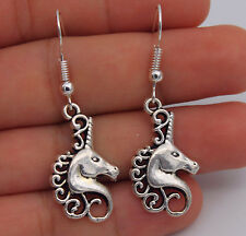 925 Silver Plated Hook  - 1.8'' Unicorn Horse Animal Hollow Women Earrings #61