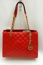 NWT Michael Kors Susannah Quilted Leather Medium Shoulder Tote Dark Red