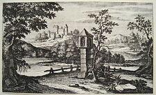 Südliche Landschaft Kastell Italien Fluss  Kobell  Kupferstich um 1750