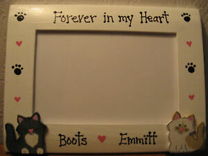 Cat frame PERSONALIZED - FOREVER IN MY HEART MEMORY pet photo picture frame