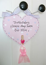 PERSONALISED TOOTH FAIRY Sign ~ Comes with Peg & Organza Bag For Child's Tooth