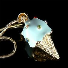 3D Blue Blueberry ICE CREAM CONE made with Swarovski Crystal Charm Necklace Cute