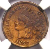 1867 Indian Cent 1C - NGC AU Details - Rare Early Date Certified Penny!