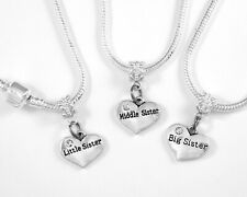 Three Sisters Necklace Set 3pc lil Middle Big Sister Gift Sisters chain  best