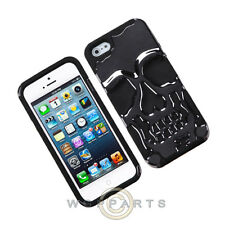 Apple iPhone 5/5S/SE Hybrid Skullcap - Gun Metal Plating/Black Case Cover Shell
