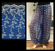 Harem Pants Belly Dance Blue w/ Gold Brocade Slit 3