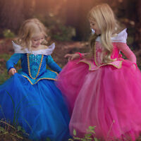 Girls Sleeping Beauty Princess Aurora Dress Costume Cosplay Funcy Dresses Gowns