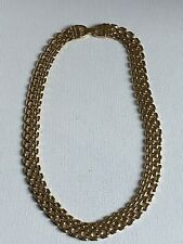 Yellow Gold Plated Wide Flat Chain Link Necklace Retro 18in 90s Power Dressing