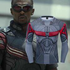 Superhero Falcon Captain Mens Costume Cosplay Compression Gym Fitness T-shirt