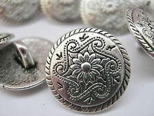 """Argent 10 fleur métal tige couture boutons 15 mm (5/8"""") Veste Manteau Boutons"""