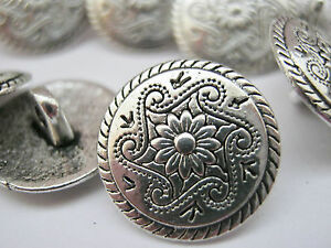 """10 Silver Flower Metal Shank Sewing Buttons 15mm (5/8"""") Jacket Coat Buttons"""