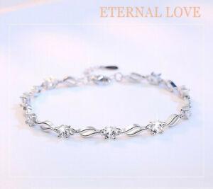 Womens Ladies Bracelet 925 Sterling Silver Jewellery Classic Pure Love Gift UK