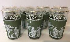 7 -HELLENIC Green White WEDGEWOOD Juice Glasses Decorative