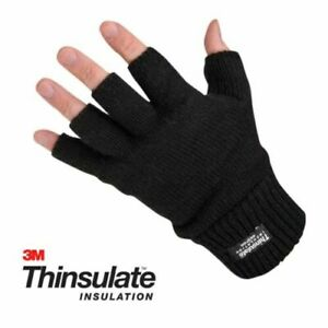 Mens Ladies THERMAL THINSULATE FINGERLESS GLOVES Knitted Wooly 3M Black