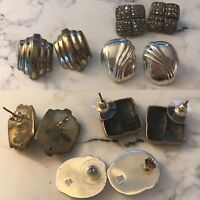 LOT OF 3 VINTAGE THAILAND EARRINGS STERLING SILVER MARCASITE