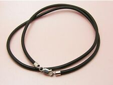 Custom Made 925 STERLING SILVER 1.5MM Black RUBBER Choker NECKLACE ~Smooth Ends~