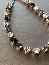 Necklace Choker Jet Black Diamond W/ Swarovski Crystals In Antique Silver