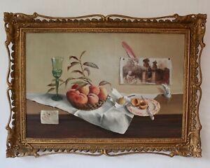 DEBORAH JONES Still Life PEACHES Signed Original Framed Painting  Ornate Frame