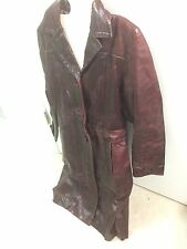 "Vintage Burgundy Red Brown ""Real Leather"" Trench Coat - Women's Size M Medium"