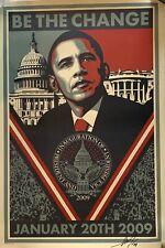 Shepard Fairey signed poster print Barack Obama be the change 2009 president
