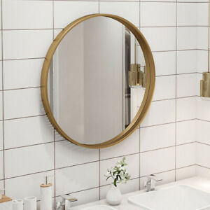 Industrial Gold Round Frame Home Bathroom Glass Wall Mounted Vanity Mirror 80cm