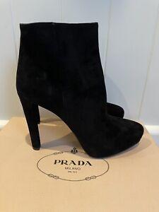 Black Suede PRADA Stiletto Zip Up Ankle Boots 38.5 $1500