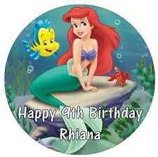 "Little Mermaid Disney Princess Personalised Cake Topper Edible Wafer Paper 7.5"""