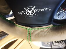 Pour DATSUN SUNNY B310 77-81 Beige Volant en cuir couverture vert double STCH