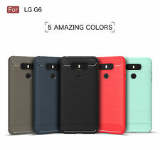 For LG G6 Shockproof Hybrid Rubber Carbon Silicone TPU Soft Back Case Cover