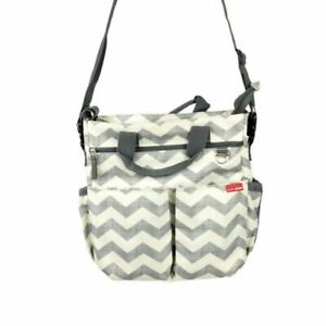 Skip Hop Gray White Zig Zag Double Handled Messenger Bag Clean Diaper Bag