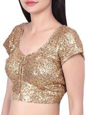 Gold Blouse with Dori Embellished window Wedding Party Choli Bollywood UKBL7