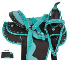 TEAL SYNTHETIC WESTERN BARREL RACING SHOW SADDLE HORSE USED 14 15 18 TACK PAD