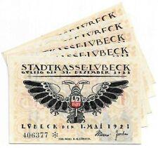 **1921 LUBECK Germany- 2 HEADED EAGLE ~ Complete Set German Notgeld Banknote