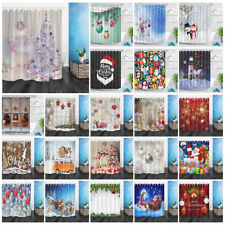 Xmas Ball Snow Tree Fireplace Santa Snowman Shower Curtain Set Waterproof Fabric
