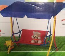 Kids Swing Set Outdoor Seat Garden Children Toddler Chair Baby Child Canopy Blue