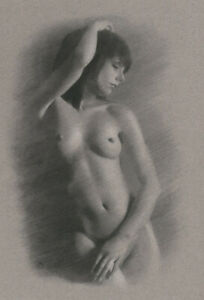 Female Nude ORIGINAL DRAWING Charcoal Realistic Fine Art Naked woman NO RESERVE