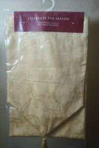 """Celebrate The Season Christmas Holly 90"""" table yellow gold poly-cotton"""