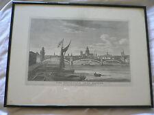 Grabado. el Puente de Hierro Southwark. Richard Holmes Laurie. 1822