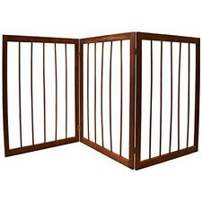 Dog Safety Gate Folding Pet Wooden 3 Part Portable Indoor Small Barrier Fence UK