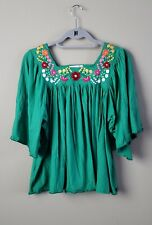 Anthropologie Carolina K Green Embroidered Mexican Oaxacan Top Small