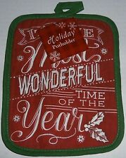 """Christmas Pot Holder   IT'S THE MOST WONDERFUL TIME OF THE YEAR  7"""" X 9"""""""