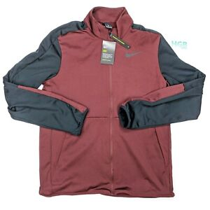 Nike Dry Jacket Men's Running Training Sport Full Zip Maroon Black CU4947-624