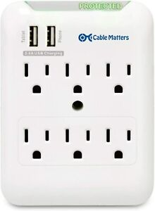 New CABLE MATTERS 6 Outlet SURGE PROTECTOR Wall Mount Dual USB Charging Station